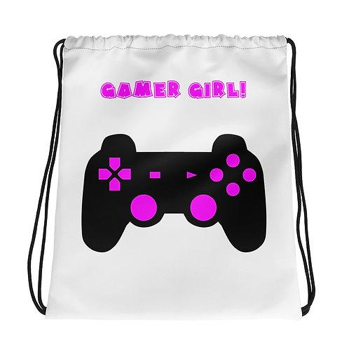 Gamer Girl Drawstring Bag-White