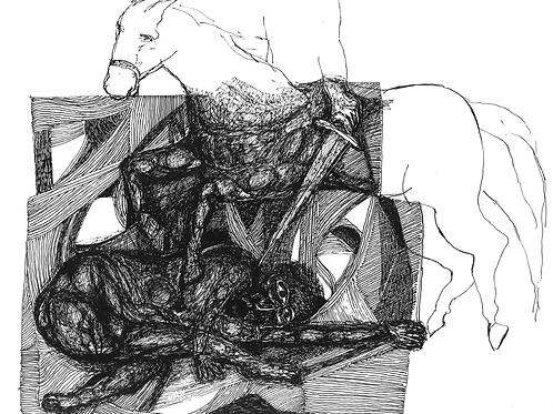 Gravura: O Cavalo e o Lanceiro