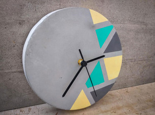 שעון בטון - קוים גאומטריים - הום סטיילינג