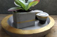 סט צלחת בטון עם עציצון מבטון ופומטי בטון