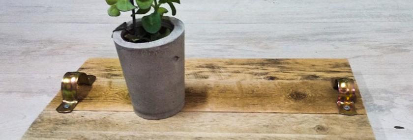 ערכת יצירה מגש עץ עם עציצון מבטון