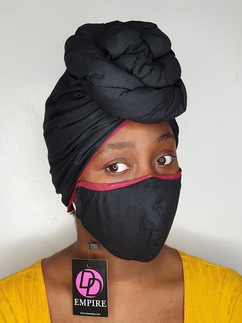 Plain Black Matching Face Mask & Headwrap