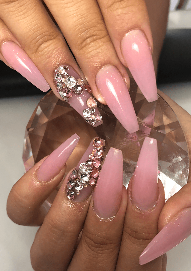 pink rhinestone gel nail art design