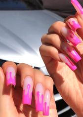gel x pink flames nail art design