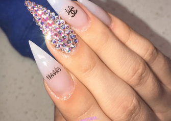 nude diamond chanel gel nail art design