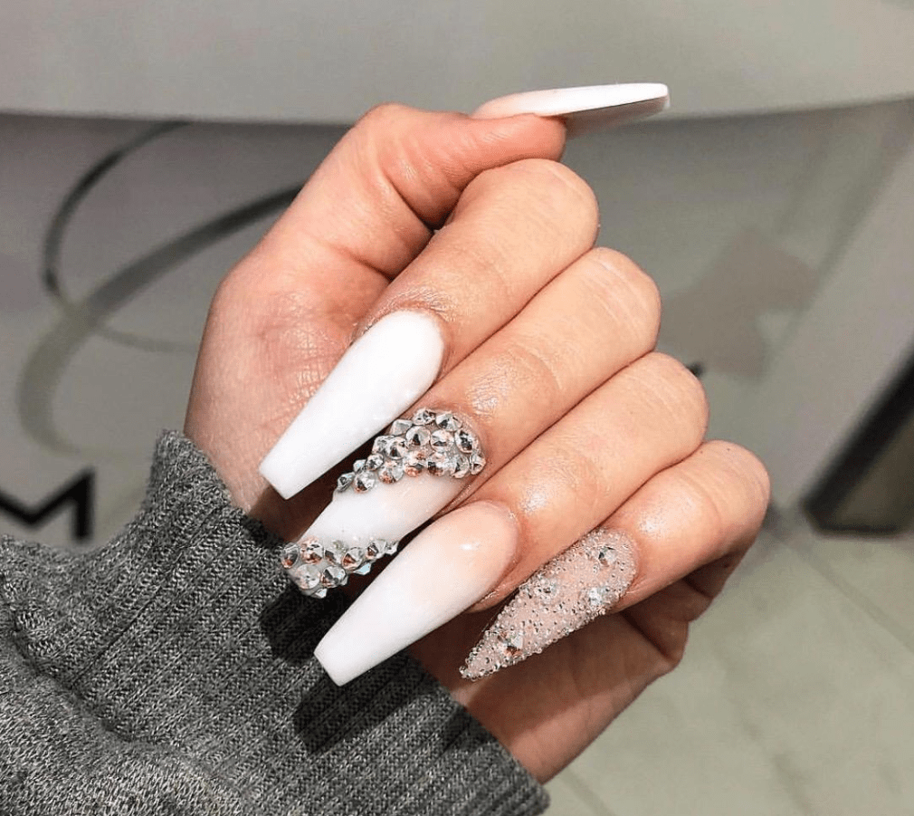 nude white diamond gel nail design