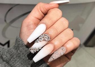 nude white diamond gel nail design
