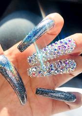 blue glitter diamond gel nail art design