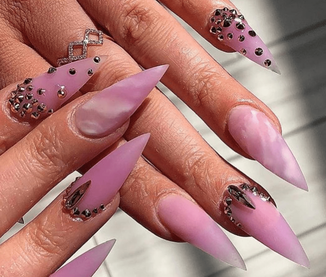pink diamond marble gel nail art design