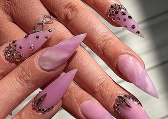 pink diamond marble gel nail art design