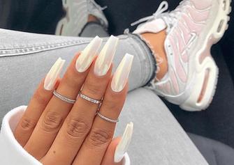 gel white coffin shape nail art design
