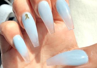 gel x baby blue playboy nail art design