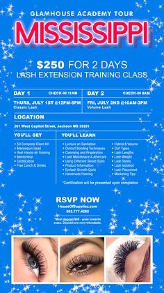 MISSISSIPPI 2-Day Lash Class Deposit: July 1 & July 2
