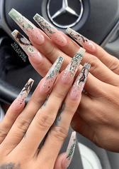 gel x money nail art design