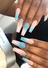 gel nail baby blue and pink nail art design