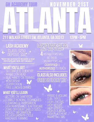 ATLANTA Lash Tour Deposit 11/21