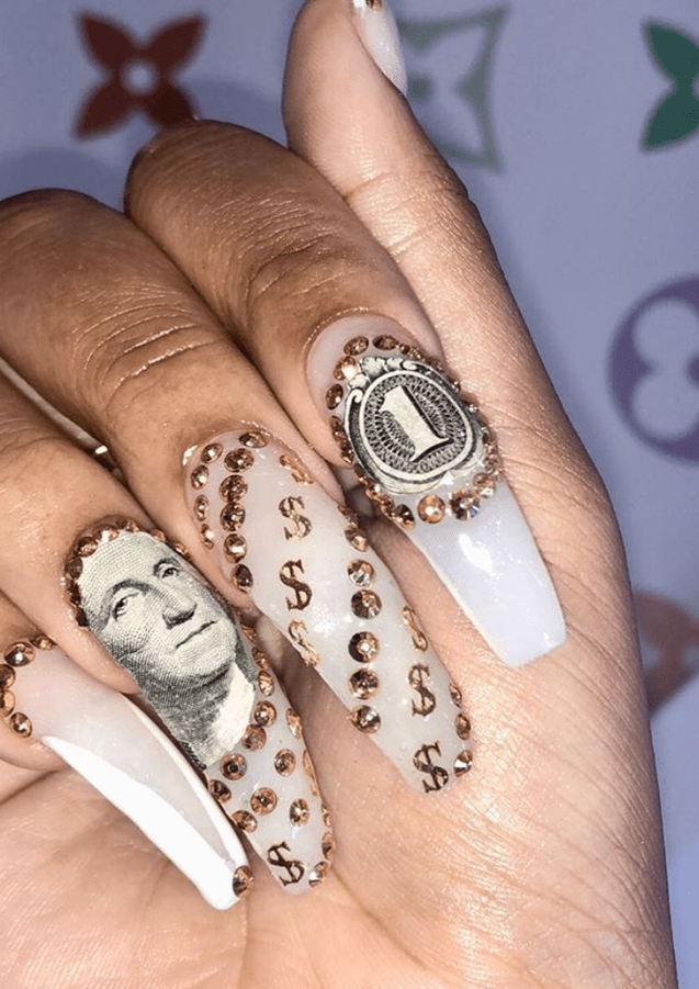money gel nail art design