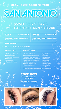 SAN ANTONIO TEXAS 2-Day Lash Class Deposit: September 25th & 26th