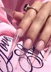gel x clear stiletto nails