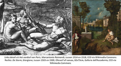 Raimondi en Giorgione, inspiratie voor M