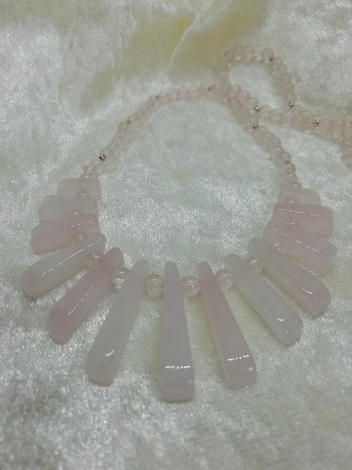 Rose quartz batons with rose quartz and silver bead necklace