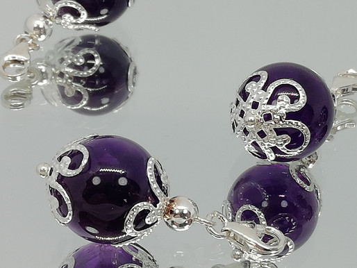 Handmade large gemstone charms with silver end caps