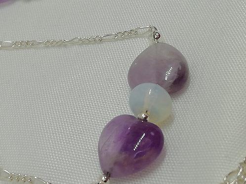 Amethyst, Opaline & Silver Bracelet
