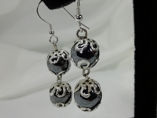 Handmade 2 hematite beads with silver end caps earrings