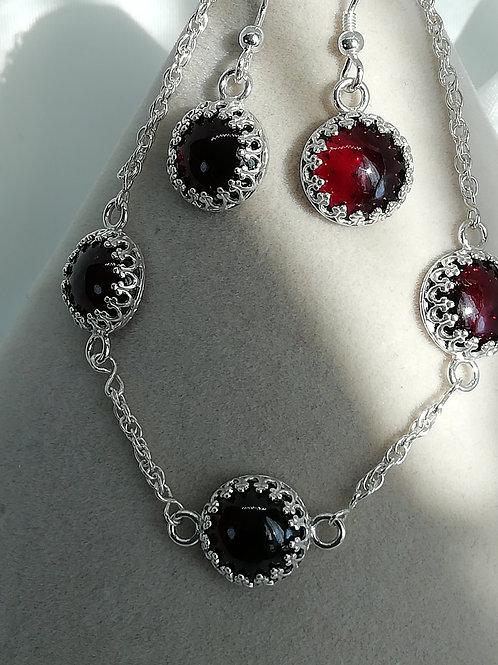 Handmade Three round garnet cabochons set into sterling silver necklace