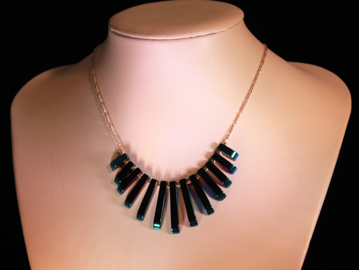 Handmade Blue hematite batons with sterling silver necklace