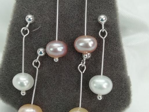 Handmade Simple freshwater pearls on sterling silver pins earrings