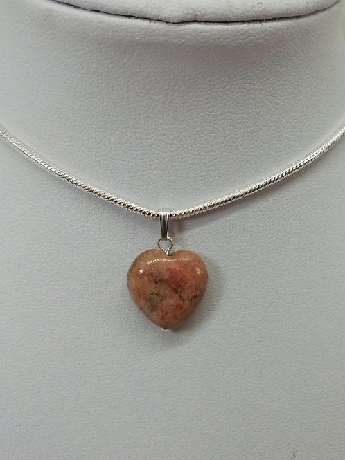 Handmade Pink jasper heart on a simple silver bale with silver snake chain and clasp