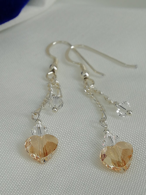 Champagne Swarovski hearts and clear crystals Earrings