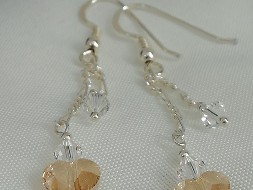 Handmade Champagne Swarovski heart and bicone clear crystals earrings