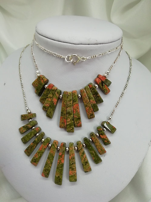 Unakite batons in a choice of styles, both with sterling silver necklace