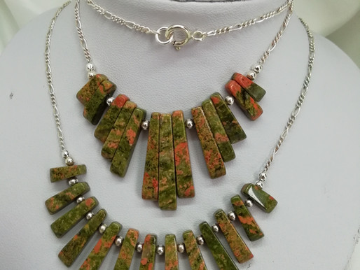 Handmade Unakite batons in a choice of styles, both with sterling silver necklace