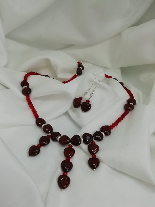 Handmade Red agate puffy hearts with a red crystal and silver bead necklace