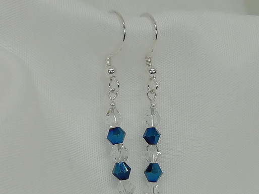 Handmade Simple metallic blue and clear crystals on a sterling silver bar earrings