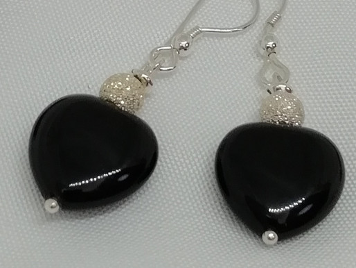 Handmade Black agate puffy hearts with sterling silver stardust beads earrings