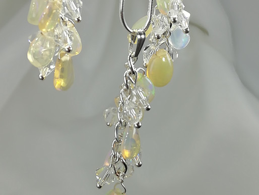 Handmade Pear-shaped opals with crystals suspended from sterling silver earrings