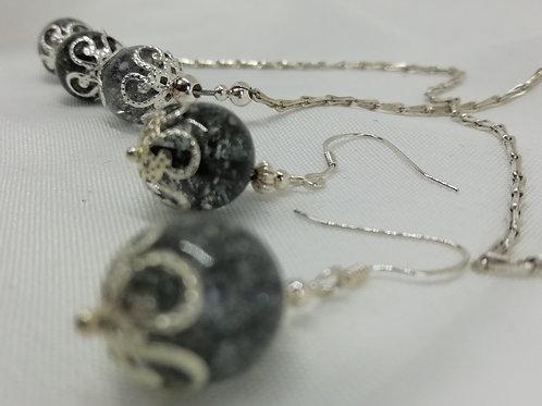 Grey Crackle Quartz Earrings