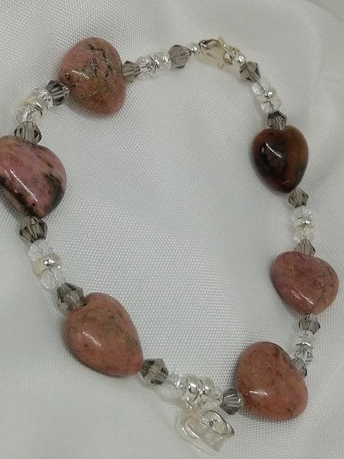 Pink Jasper, Silver & Crystal Bracelet