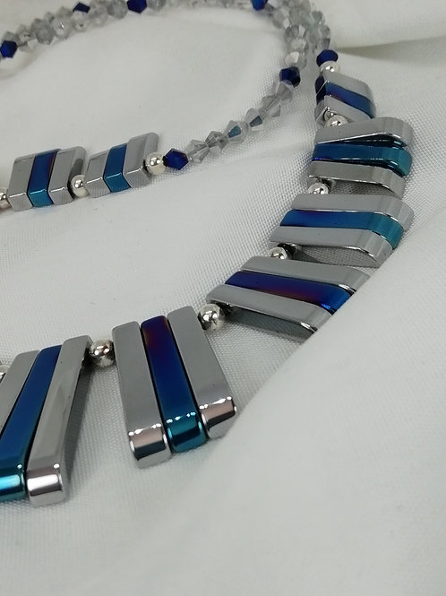 Handmade Blue and silver hematite in a graduated baton design necklace
