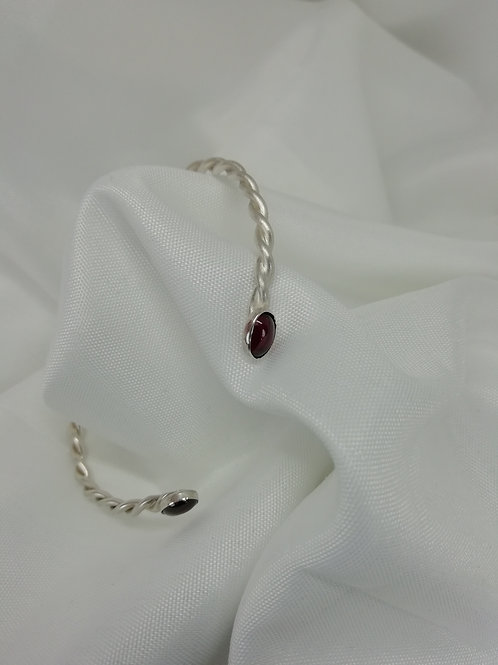 Handmade Twisted sterling  silver bangle set with oval cabochon garnets bracelets