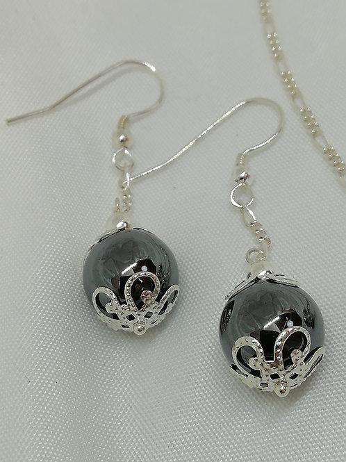Hematite & Filigree  Silver Earrings