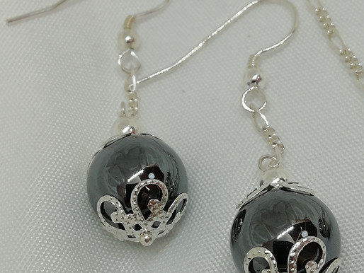 Handmade Large hematite beads with silver end caps on sterling silver shepherd's hooks