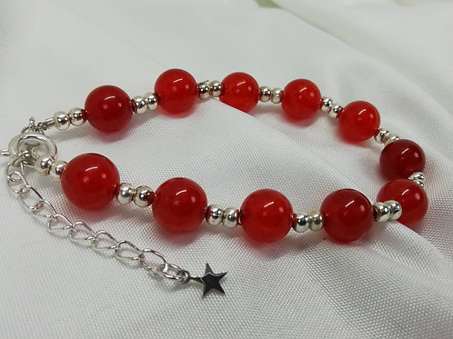 Orange Quartz Beads with Silver Spacers and Clasp with an Extender Bracelet
