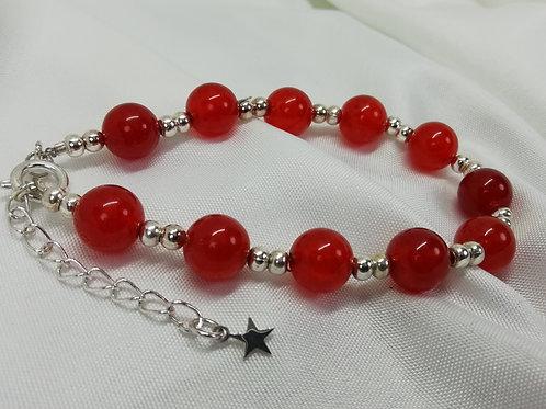 Handmade Orange quartz beads with silver spacers bracelets