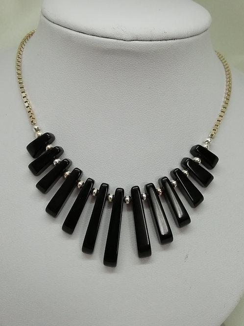 Black Agate & Silver Necklace