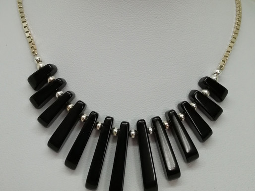 Handmade Black agate batons with a choice of sterling silver necklace